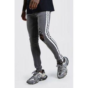 Boohooman super skinny distressed jeans wth stripe